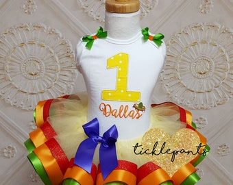 Made for all ages and sizes - Fiesta Tutu outfit - Sombrero - Red yellow green orange -  Includes embroidered top and ruffled tutu