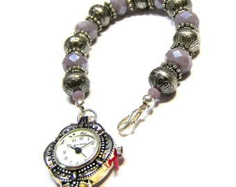 ON SALE TODAY Wrist Watch on Beaded Band  Vintage Watch Beaded Bracelet Top Selling Jewelry Lavender Beaded Bracelet Jewelry for Women