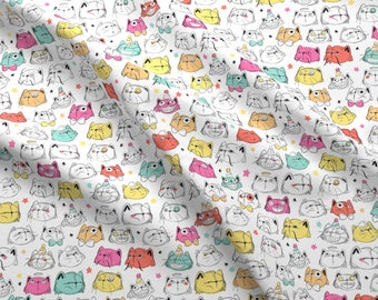 Cat Fabric - Cat Party By How-Store - Cat Kittens Kitty Feline Colorful Cotton Fabric By The Yard With Spoonflower