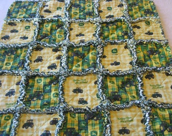 John Deere Rag Quilt John Deere Tractor Crib Stroller Blanket Baby Boy Shower Gift Baby Boy Rag Quilt Blanket