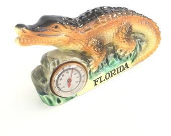 Vintage Florida alligator thermometer souvenir 1950s mid century ceramic kitsch Floridiana