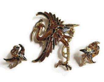 SALE Bronze & Black Enamel Heron or Stork Brooch and Earrings Vintage Set