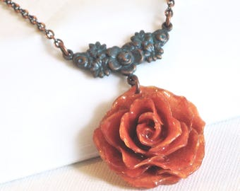 Real Rose Necklace - Orange Rose,  Flower Jewelry, Natural Preserved, Nature Jewelry, Small Rose Necklace, Botanical Jewelry