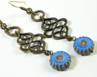 Blue Earrings - Brass Earrings, Long Earrings