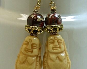 Vintage Buddha Bead Carved Ox Bone Dangle Drop Earrings, Vintage Brecciated Red Jasper Beads