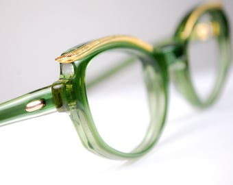 NOS Vintage 1960s SEA Green Cat Eye Glasses Golden Brow Line Metalwork Frame Made in USA