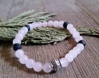 Aromatherapy Stretch Bracelet Natural Gemstone Lava Stone Essential Oil Rose Quartz Pink Jewelry