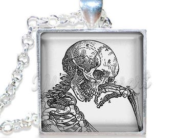 "20% OFF - Halloween Thinking Skeleton Gothic  1"" Square Glass Pendant or with Necklace - SQ108"