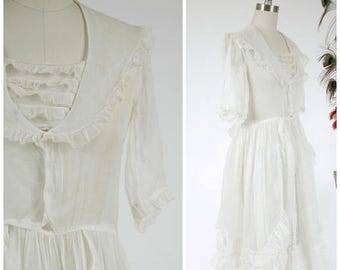 Memorial Weekend Sale - Vintage Late 1910s Dress - Ethereal Sheer White Late Teens / Early 20s Cotton Organza Dress with Frilled Panniers