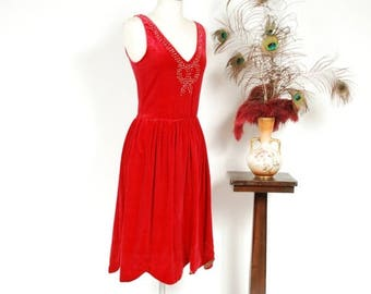 50% CLEARANCE Vintage 1920s Dress - Crimson Red Cotton Velveteen 20s Flapper Dress with Studded Rhinestone Bow & Gold Lamé Lined Scalloped H