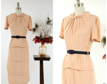 Vintage 1940s Dress - Lovely Champagne Rayon 40s Day Dress with Tiered Skirt and Keyhole Neckline
