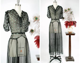 Vintage 1940s Dress - Alluring Ultra Sheer Black 40s Evening Dress with Shirred Bodice and Pale Mint Embroidery