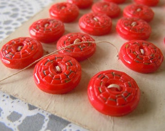 Vintage Red Glass Painted Sewing Buttons