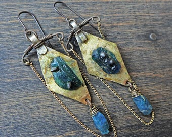 "Artisan boho assemblage earrings with teal Roman glass by fancifuldevices- ""Magastromancy"""