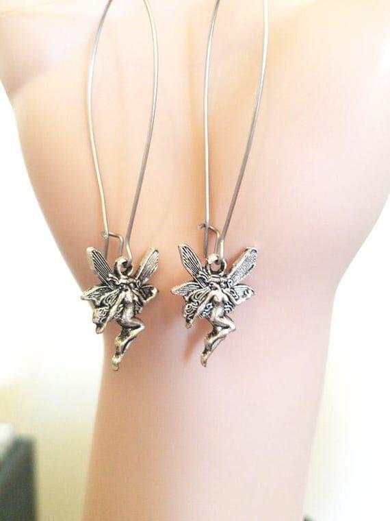 Long Dangle Fairy Charm Earrings silver fantasy handmade jewelry