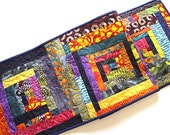 Patchwork Quilted Table Runner in Bright and Colorful Fabrics, Colorful Modern Table Decor