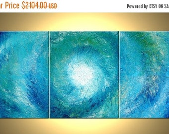 Blue White Original Painting / Abstract Palette Knife Art / Impasto Storm / Hurricane / Heavy TEXTURE / Large Fine Art By Lafferty / 30x72