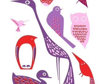 "SUMMER SALE 4X6"" birds giclee print on fine art paper. lavender purple, lilac, red."