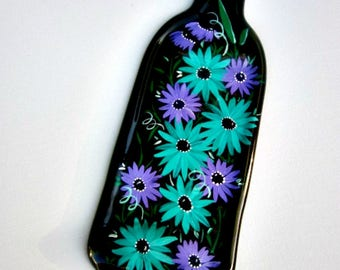 Melted Wine Bottle, Serving Tray,  Spoon Rest, Kitchen Trivet,  Dark Green Wine Bottle Hand Painted with Teal and Purple Flowers