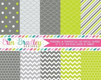 50% OFF SALE Digital Scrapbooking Papers Lime Green and Charcoal Paper Pack Personal & Commercial Use