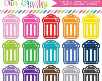50% OFF SALE Garbage Can Clipart Trash Clip Art Graphics Instant Download Commercial Use OK