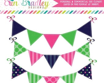 80% OFF SALE Preppy Bunting Clipart Commercial Use Blue Green and Pink Banner Flags Clip Art Graphics