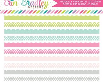 80% OFF SALE Soft Spring Clipart Borders, Scalloped Clip Art, Digital Scrapbooking Clip Art Graphics, Polka Dot & Striped Borders Clipart