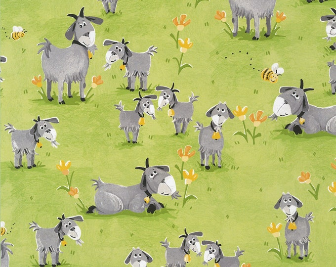 HILDY THE GOAT, Children's Cotton Fabric by Susybee 44 inches wide