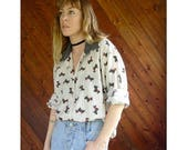 15% Memorial Day Wknd ... Scottie Dog Print Chambray Trim Blouse - Vintage 70s 80s - L