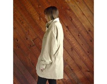 20% off SUMMER SALE. . . Khaki Convertible Hooded Rain Trench Jacket - Vintage 80s - XL