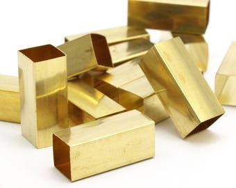 12 Huge Raw Brass Square Tubes (8x20mm) Bs 1577