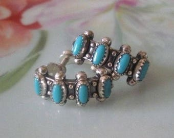 1960s ZUNI Petit Point Native American Screw Back Earrings Turquoise BELL TRADING Post 1960's Fred Harvey Era Signed Earrings Estate Find