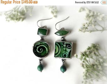 mismatched earrings, green spiral earrings, sterling silver, circles and squares, earthy artisan earrings, ready to ship