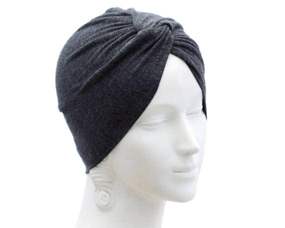 Gray Turban Hat Stretch Adult Full Turban 1940s Fashion Turban Twist Knot Turban Summer Style Chemo Hat Chemo Headwear Hairloss Turban