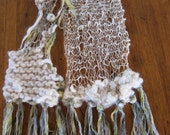RESERVED FOR CHRISTY: One of a Kind Long White Linen Wool Art Scarf Ribbon Fringe Beads