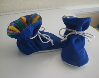 Royal Blue corduroy baby tv booties/soft sole shoes SIZE LARGE