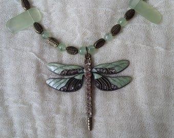 Dragonfly Necklace with Prehnite Rainbow Obsidian Black Tourmaline Beads