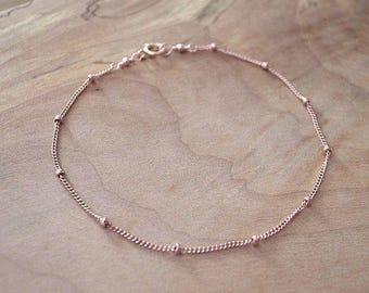 Rose Gold Filled Chain Bracelet, Gold Satellite Chain Bracelet, Gold Beaded Chain Bracelet, Rose Gold Chain Bracelet, Delicate Gold Bracelet