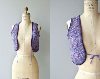 70s Indian cotton quilted vest   vintage 1970s floral vest