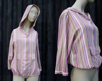 Baja Stripe Vintage Front Pocket Hooded Cinch Waist Surfer Casual Retro Woman's Pullover Top