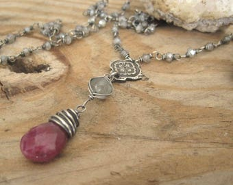 Gemstone Statement Necklace, Ruby July Birthstone, Labradorite, Moonstone, Moss Aquamarine, Long Y Necklace