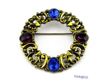 Brooch Purple Blue Antiqued Gold Tone Scroll