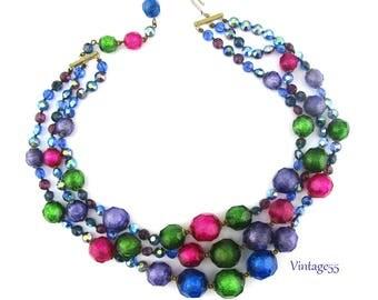 Necklace Beaded Foil Rhinestone Aurora Borealis
