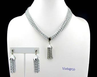 Sarah Coventry Silver Cascade Necklace Earrings Pierced