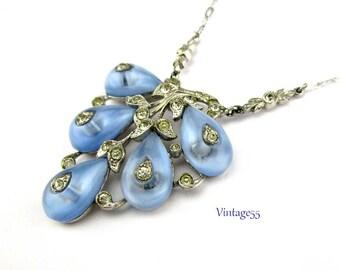 Crown Trifari Blue Glass Rhinestone Necklace Art Deco