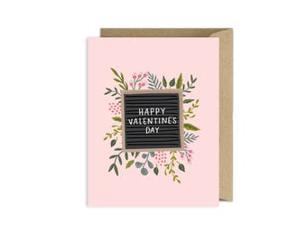 Happy Valentines Day Letter Board Floral Card