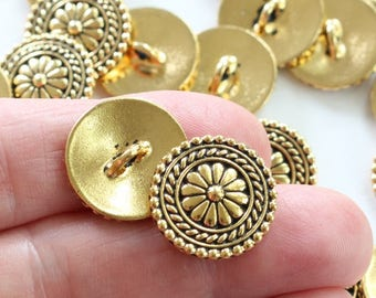 Gold Bali Buttons, 2+ TierraCast plated pewter, circular flower design, 18mm wide with 2mm shank, jewelry findings or for sewing (S)