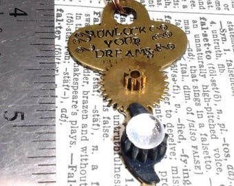 Stamped Brass Key Steampunk Style Pendant Necklace with Vintage Watch Gears and Glass Gem