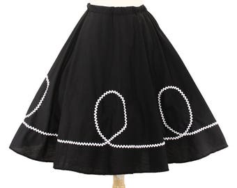50s Retro Black Circle Skirt with White Ric Rac Loops - Vintage Inspired for Pinup, Swing, 50s Style - size Large / XLarge