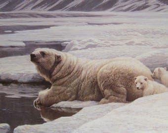 Arctic Family - Polar Bears - Original Page from 1983 Book - The Art of Robert Bateman